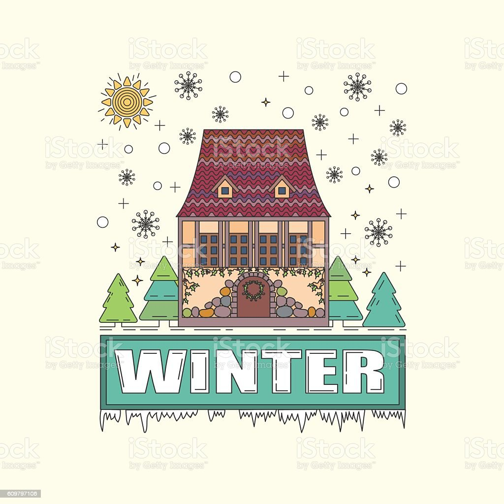 Detailed winter house on snowy background. Vector illustration royalty-free stock vector art