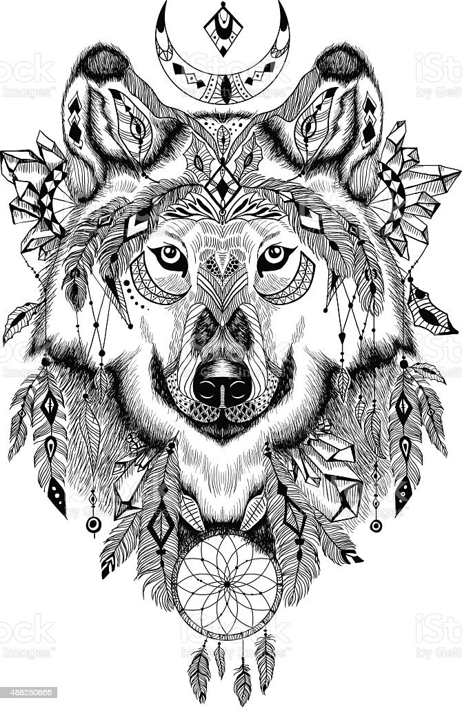 Detailed Wolf in aztec style vector art illustration