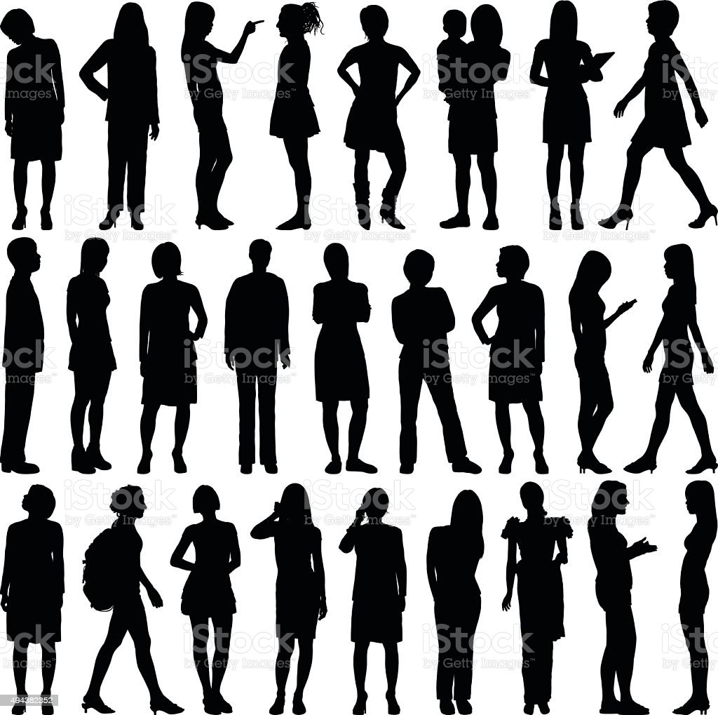 Detailed Women Silhouettes vector art illustration