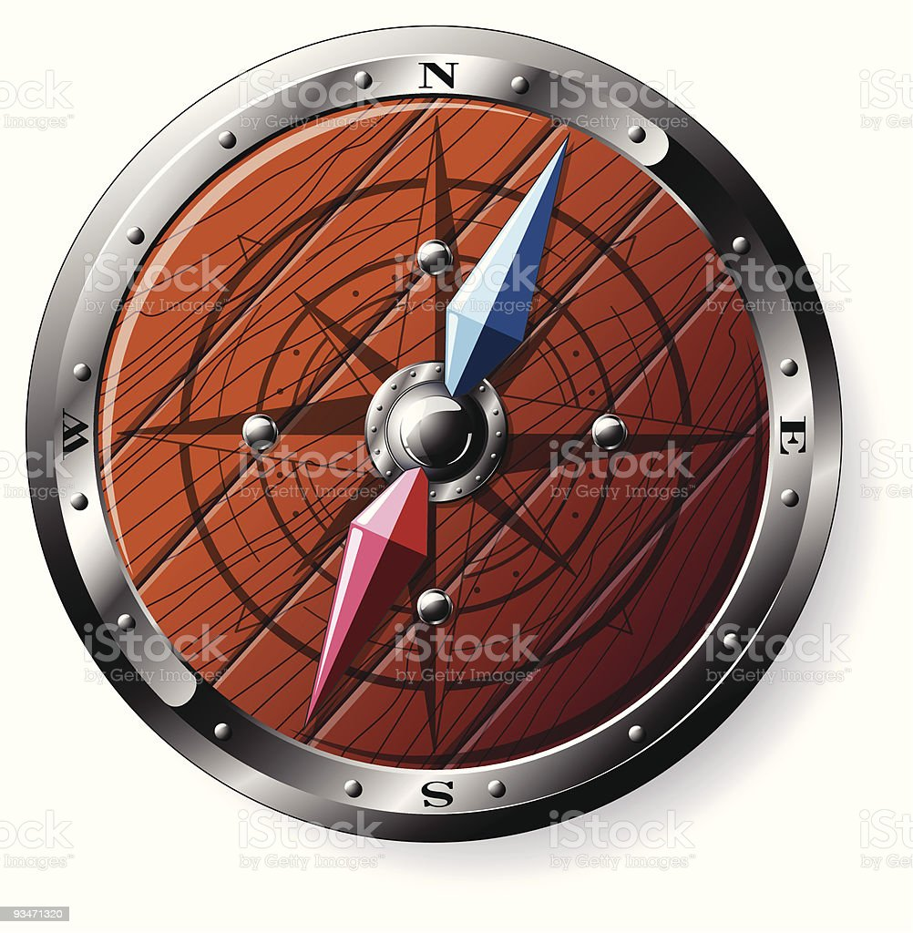Detailed wooden compass royalty-free stock vector art