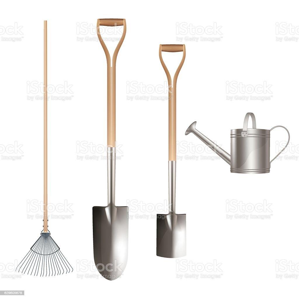 Detailed working tools for garden vector art illustration