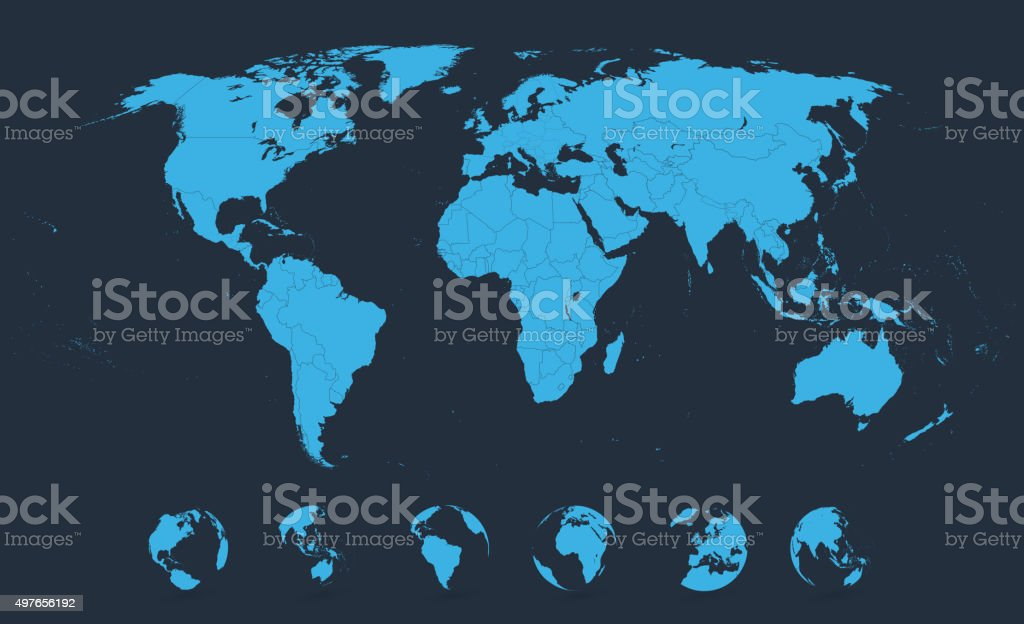 Detailed World Map Blue with Globe Icons vector art illustration