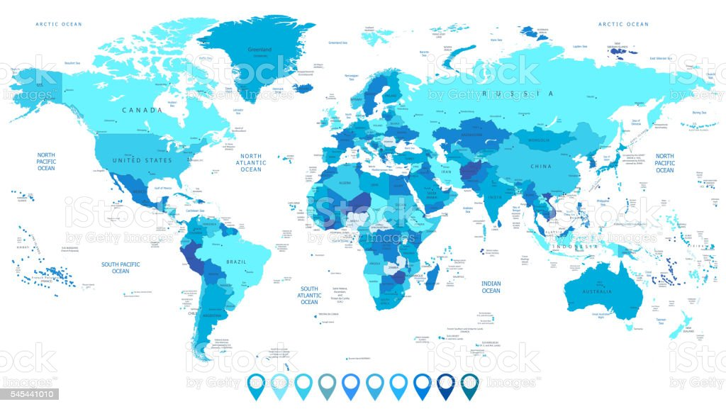 Detailed World Map in colors of blue and map pointers vector art illustration