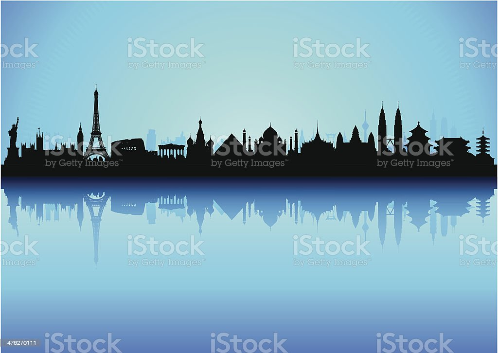 Detailed World Monuments Skyline (Each Building is Moveable and Complete) vector art illustration