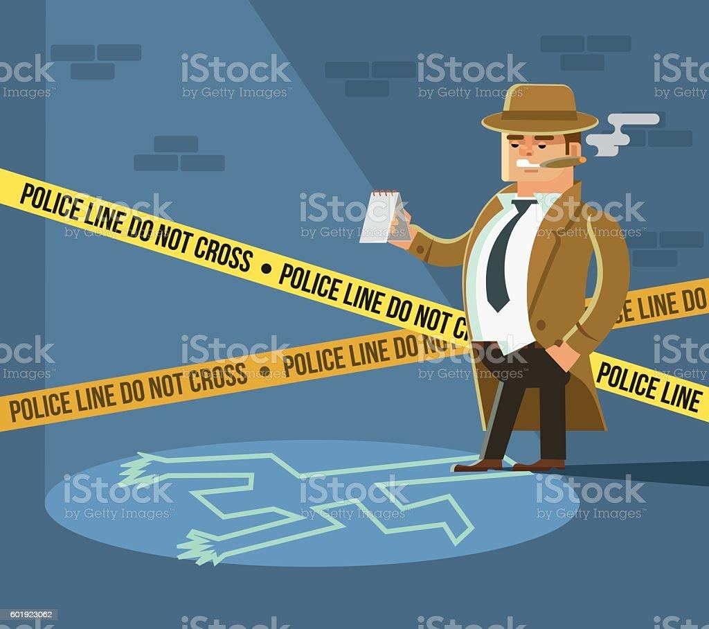 Detective at crime scene. Dead body vector art illustration