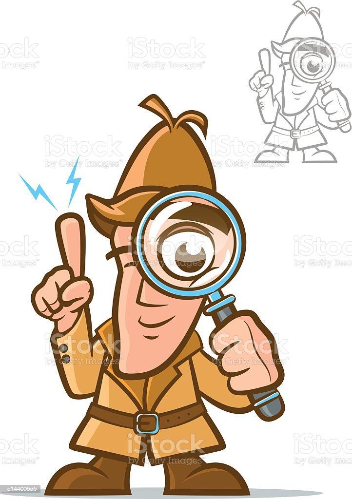 Detective Cartoon Character vector art illustration