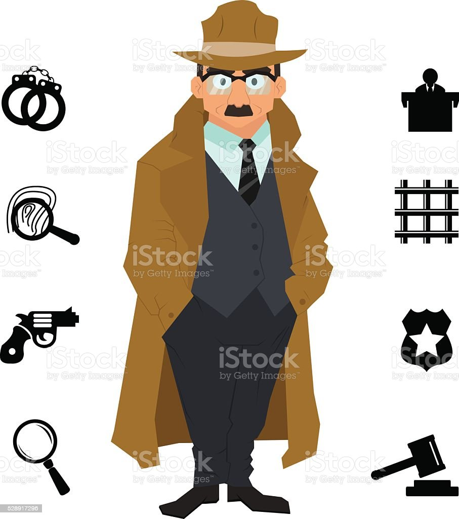 detective character design with equipment. vector art illustration