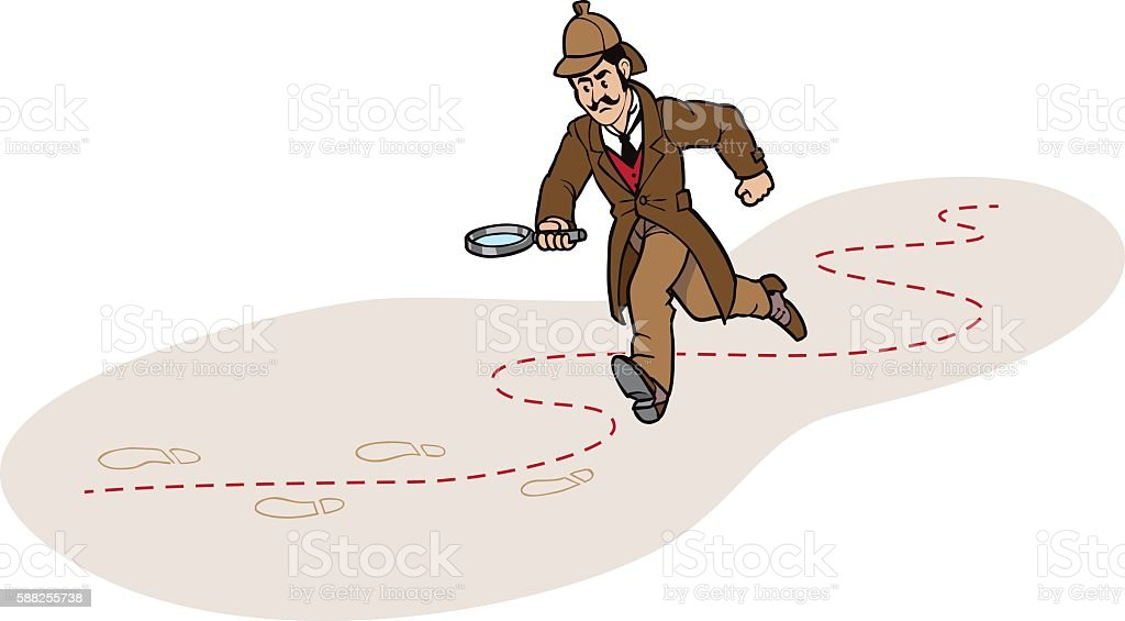 Detective Chasing a Clue vector art illustration