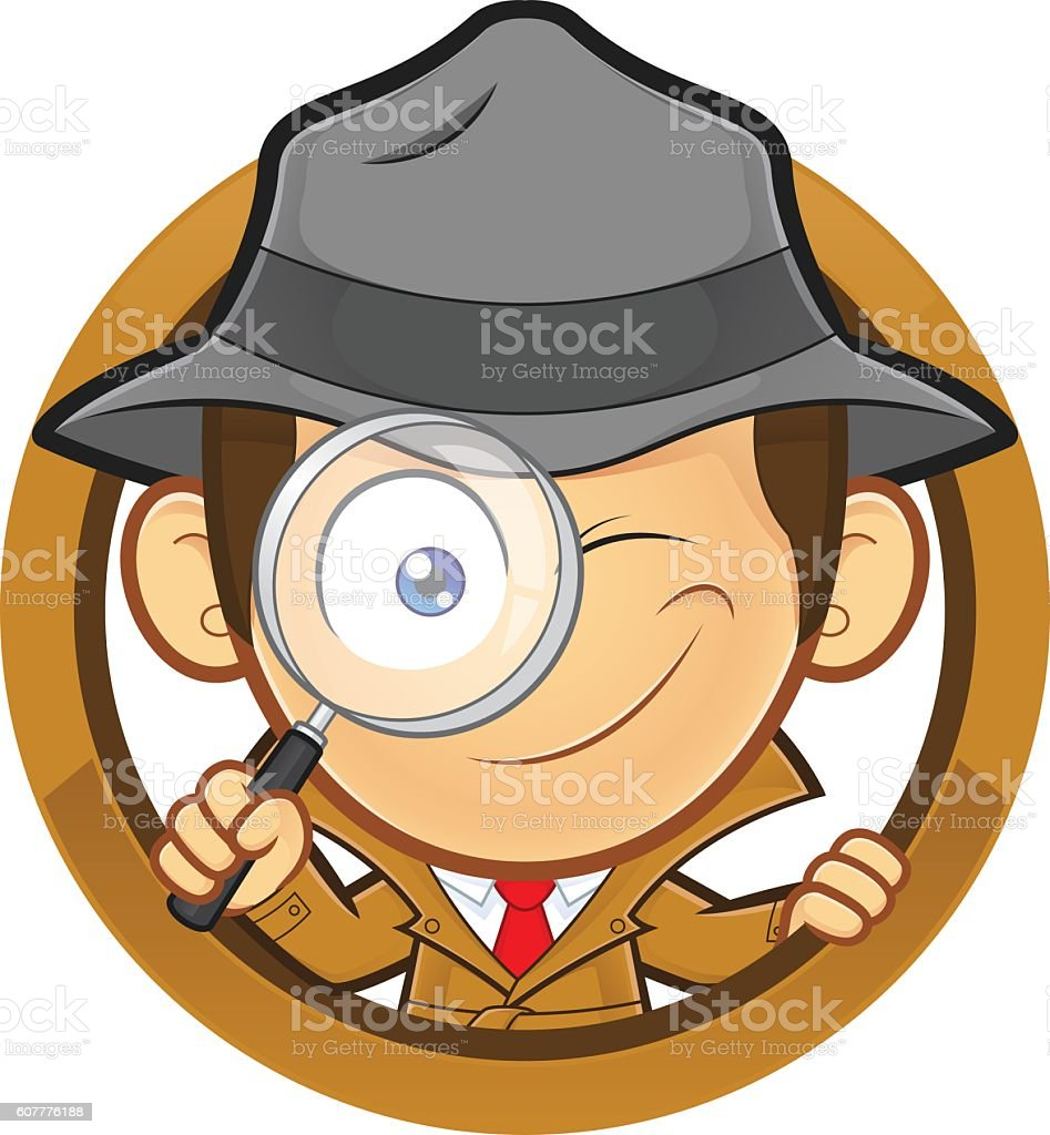 Detective holding a magnifying glass with circle shape vector art illustration