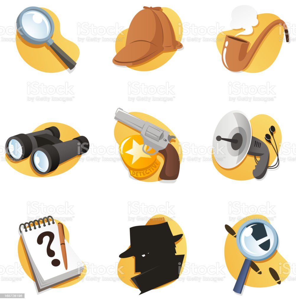 Detective Icon Set with Magnifying Glass Binoculars Gun Radar Notepad vector art illustration