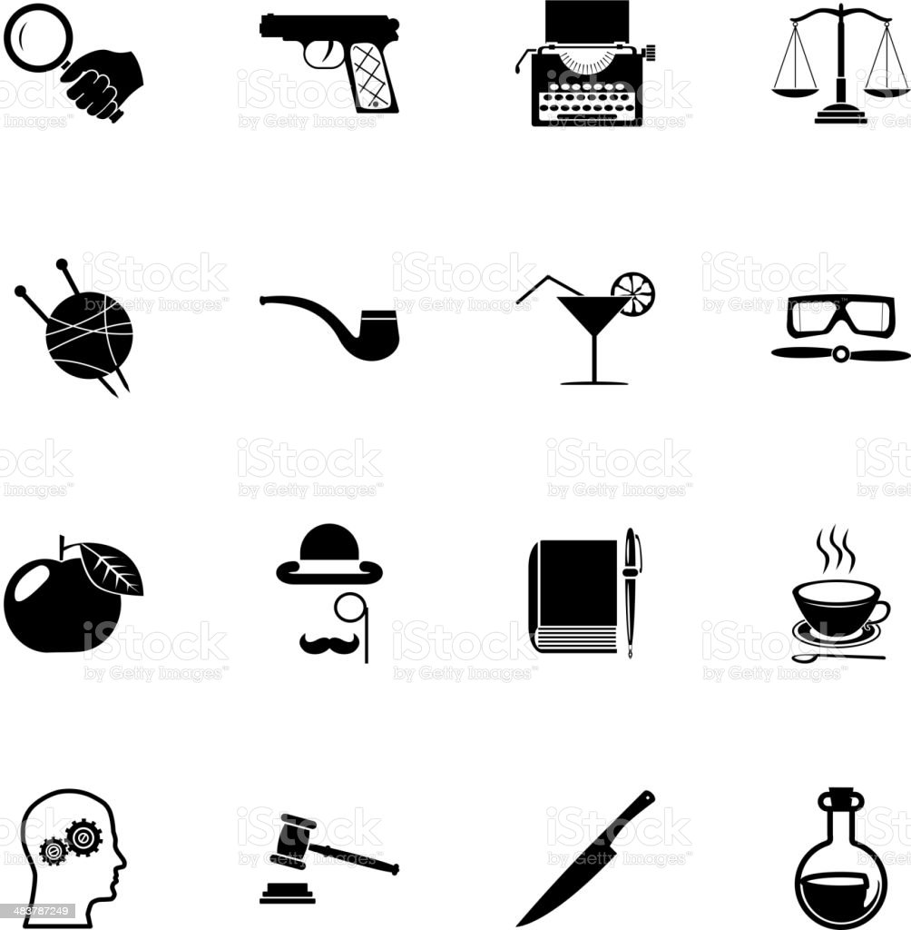 Detective Icons and Symbols Isolated Silhouette Set Vector Illustration vector art illustration