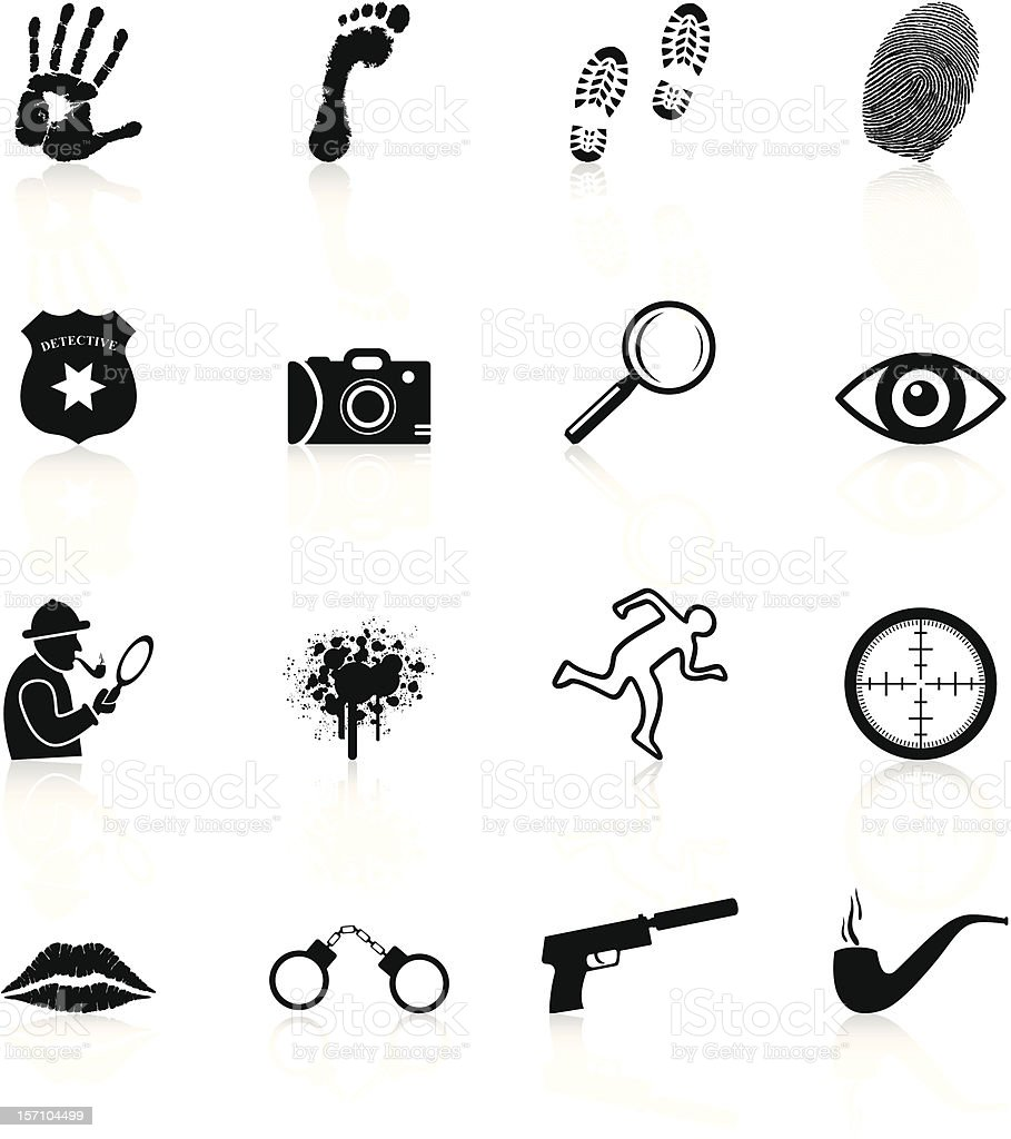 Detective Icons - Black Series royalty-free stock vector art