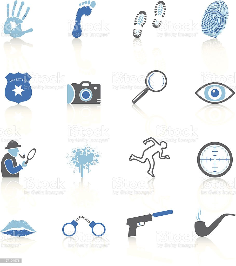Detective Icons - Blue Series royalty-free stock vector art