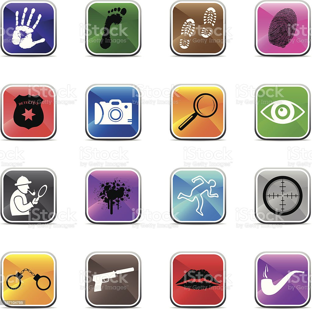 Detective Icons - Shiny colors royalty-free stock vector art