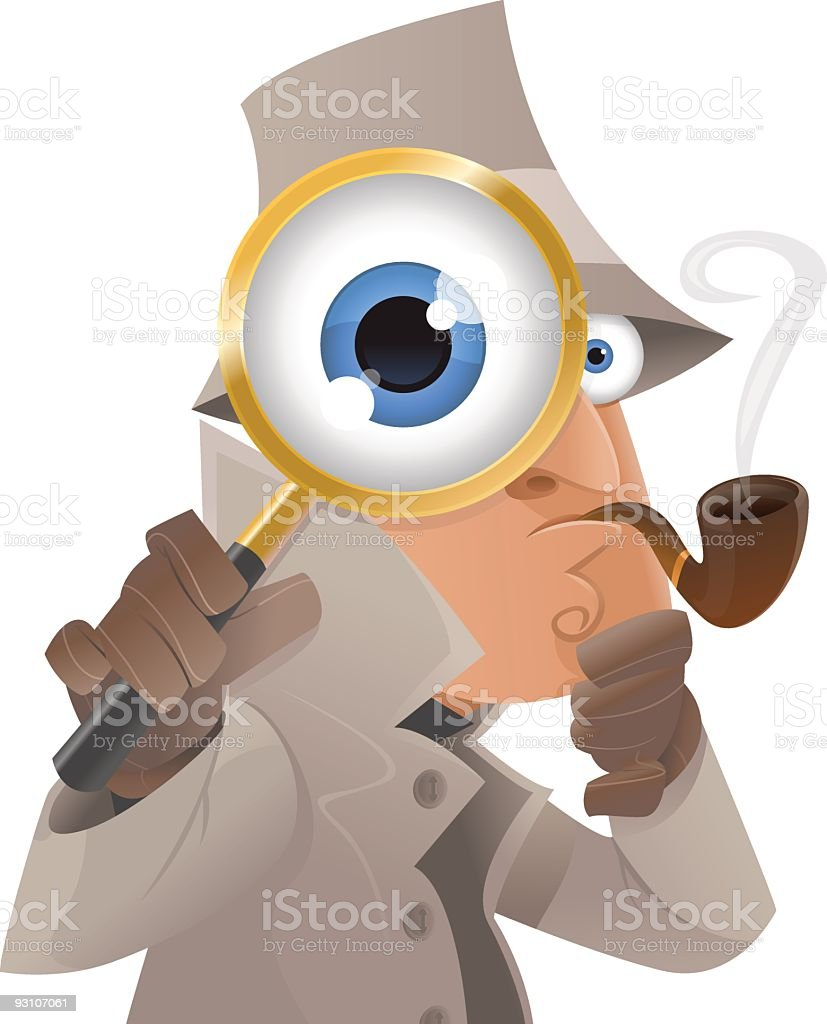Detective illustration with glasses vector art illustration
