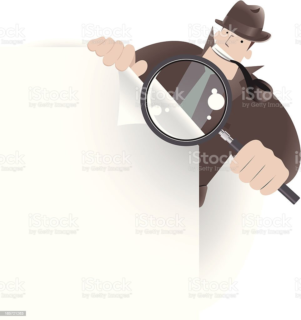 Detective Inspector With Magnifier And File, Looking,  Searching Something vector art illustration