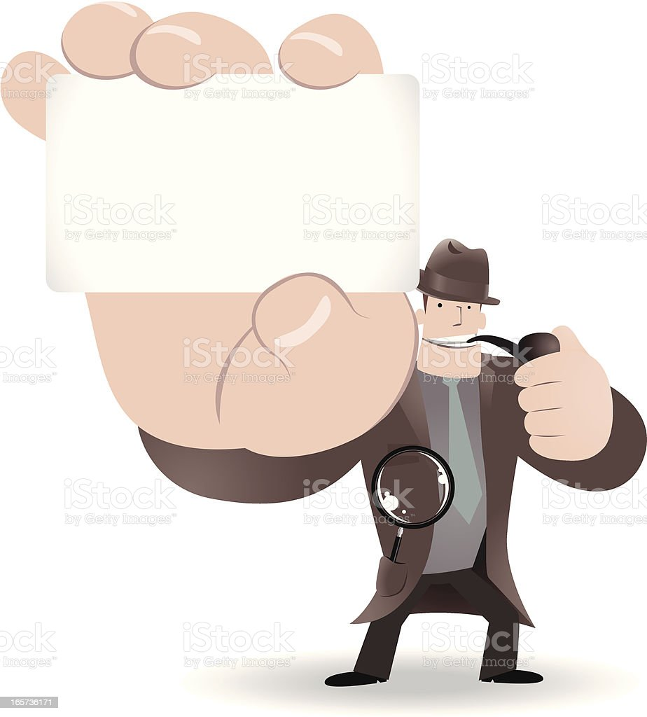 Detective Inspector With Magnifier And Pipe,Holding Message Card vector art illustration