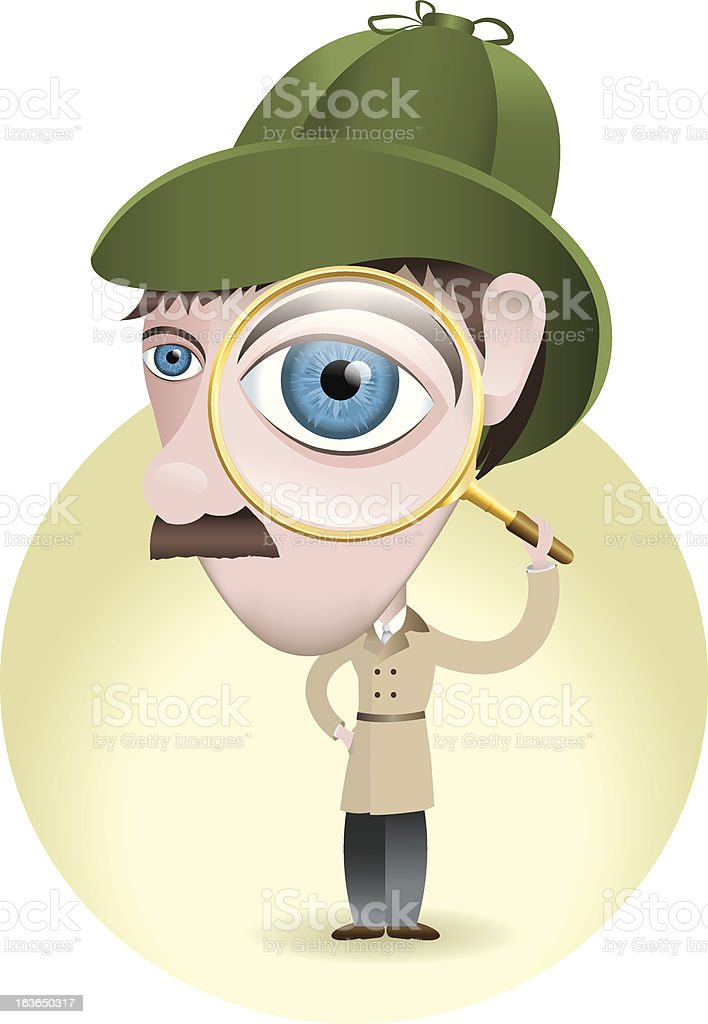 Detective Looking for Clues with His Magnifying Glass royalty-free stock vector art