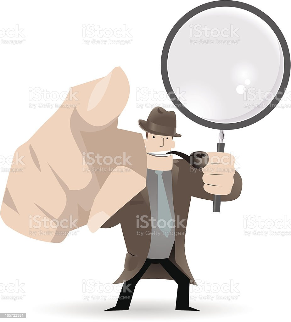 Detective Pointing At You And Holding A Magnifier vector art illustration