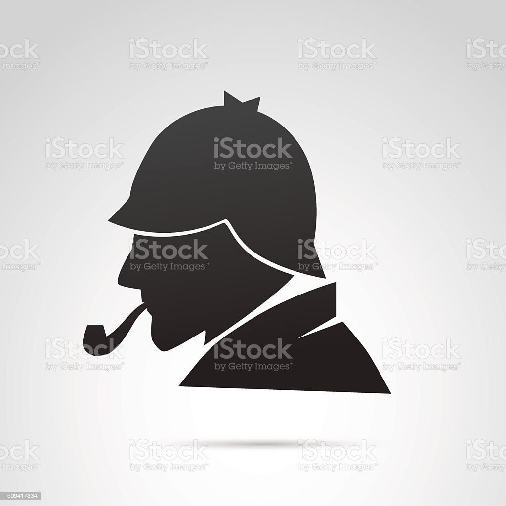 Detective profile isolated on white background. vector art illustration