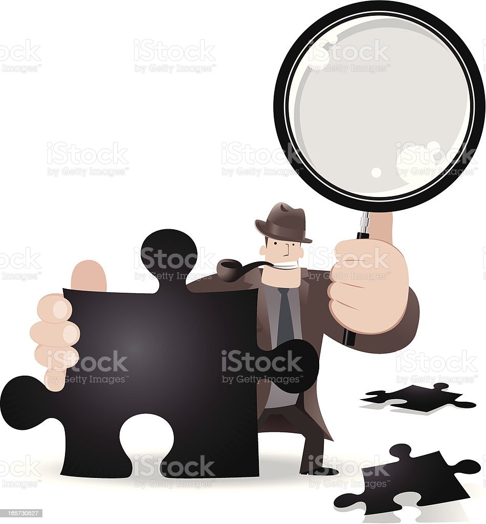 Detective Searching A Jigsaw Solution With Magnifier royalty-free stock vector art