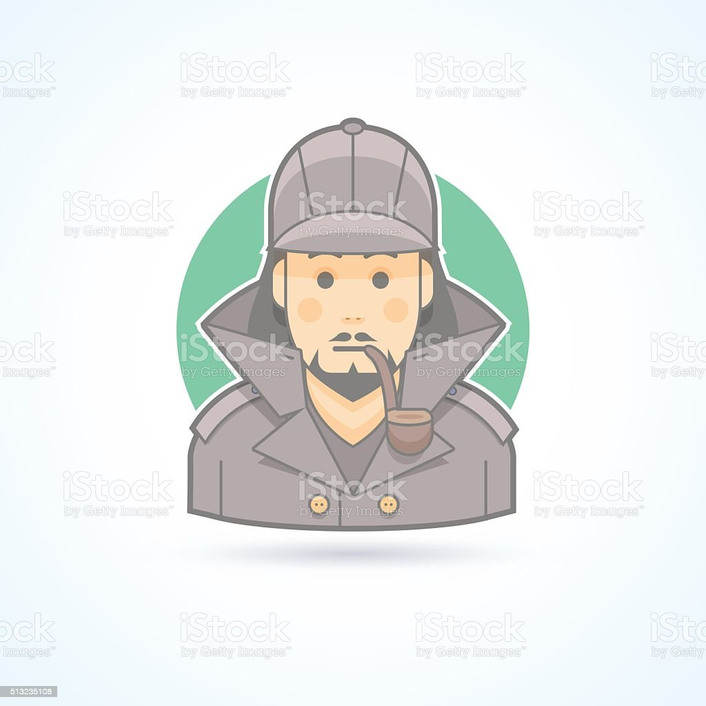 Detective, Sherlock Holmes, snoop icon. Avatar and person illustration. vector art illustration