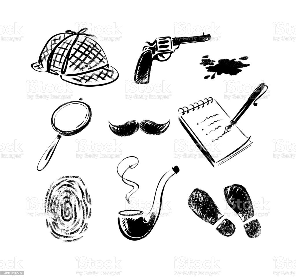 Detective sketch icons. vector art illustration