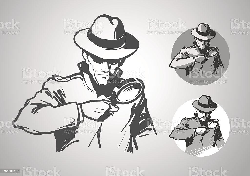 Detectve Investigation vector art illustration