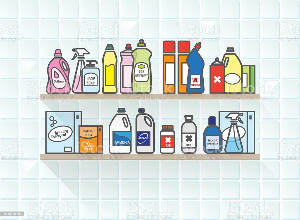 Detergents set on bathroom shelf vector art illustration