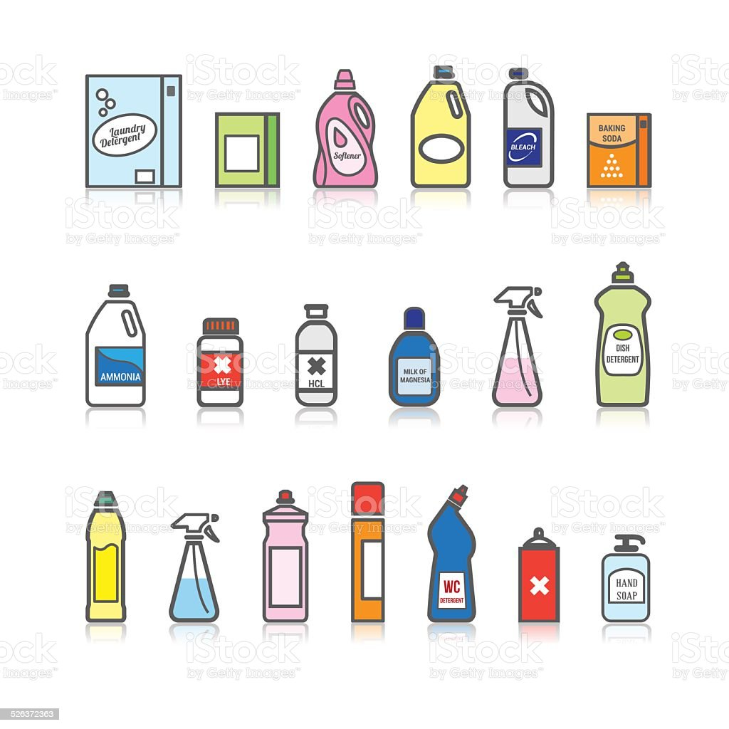 Detergents set vector art illustration