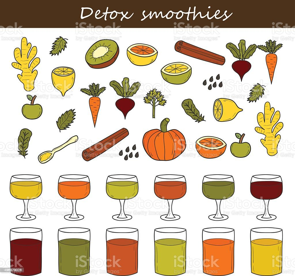 Detox smoothies ingredients vector art illustration