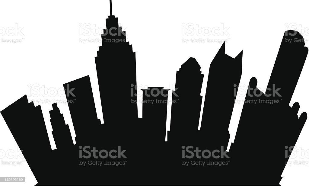 Detroit Cartoon Silhouette vector art illustration
