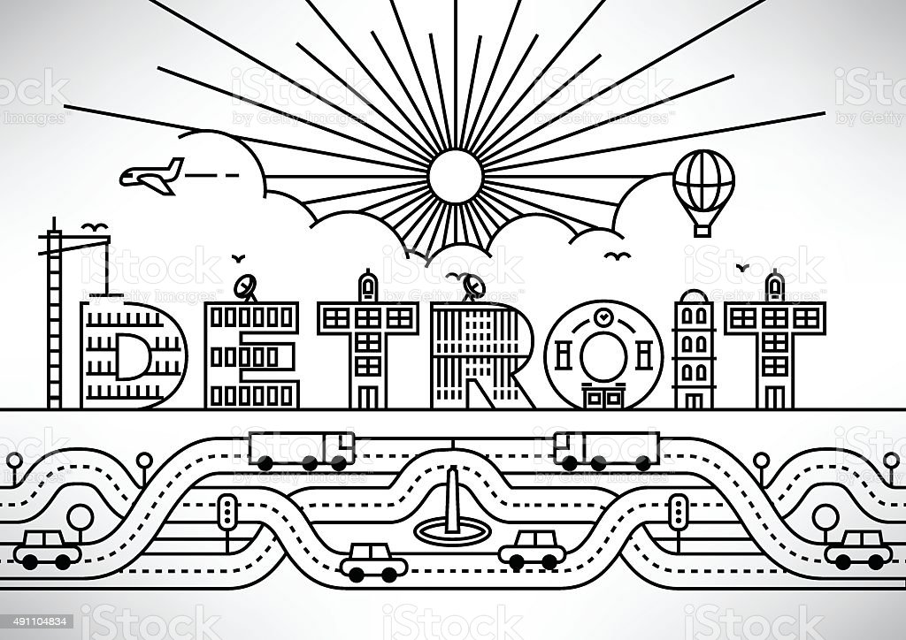 Detroit City Typography Design with Building Letters vector art illustration