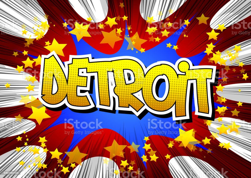 Detroit - Comic book style word. vector art illustration