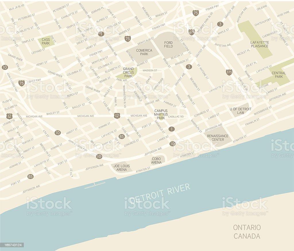 Detroit Downtown Map vector art illustration