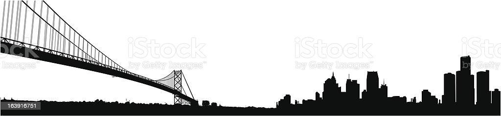 Detroit Michigan Silhouette vector art illustration