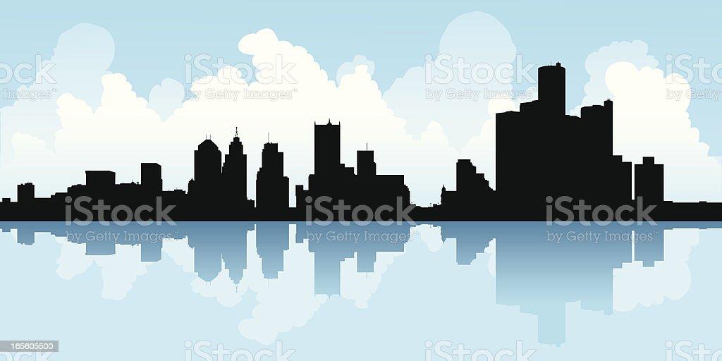 Detroit, Michigan vector art illustration