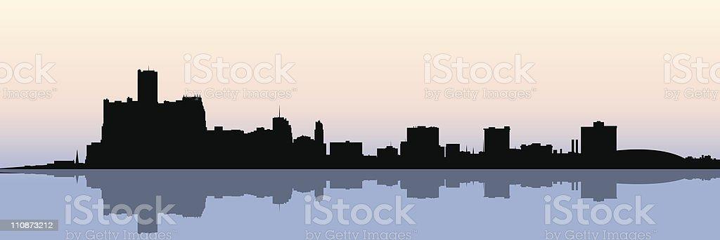Detroit Skyline vector art illustration