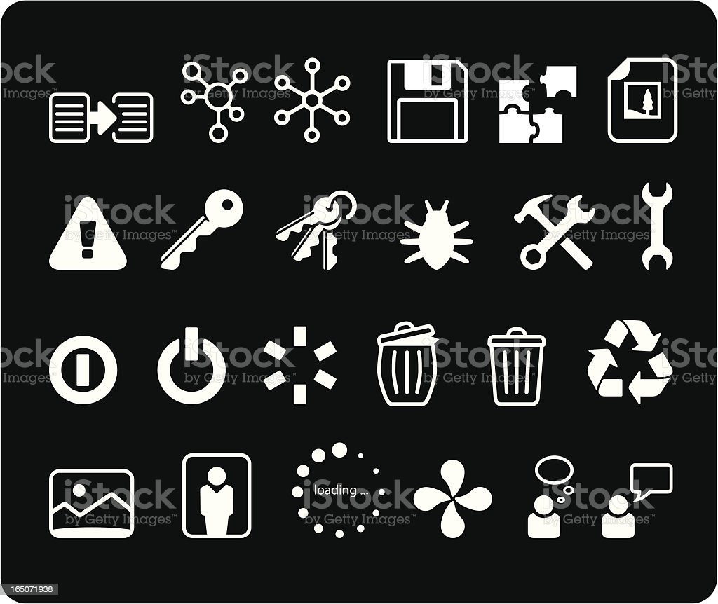 Developers Icons I - White royalty-free stock vector art