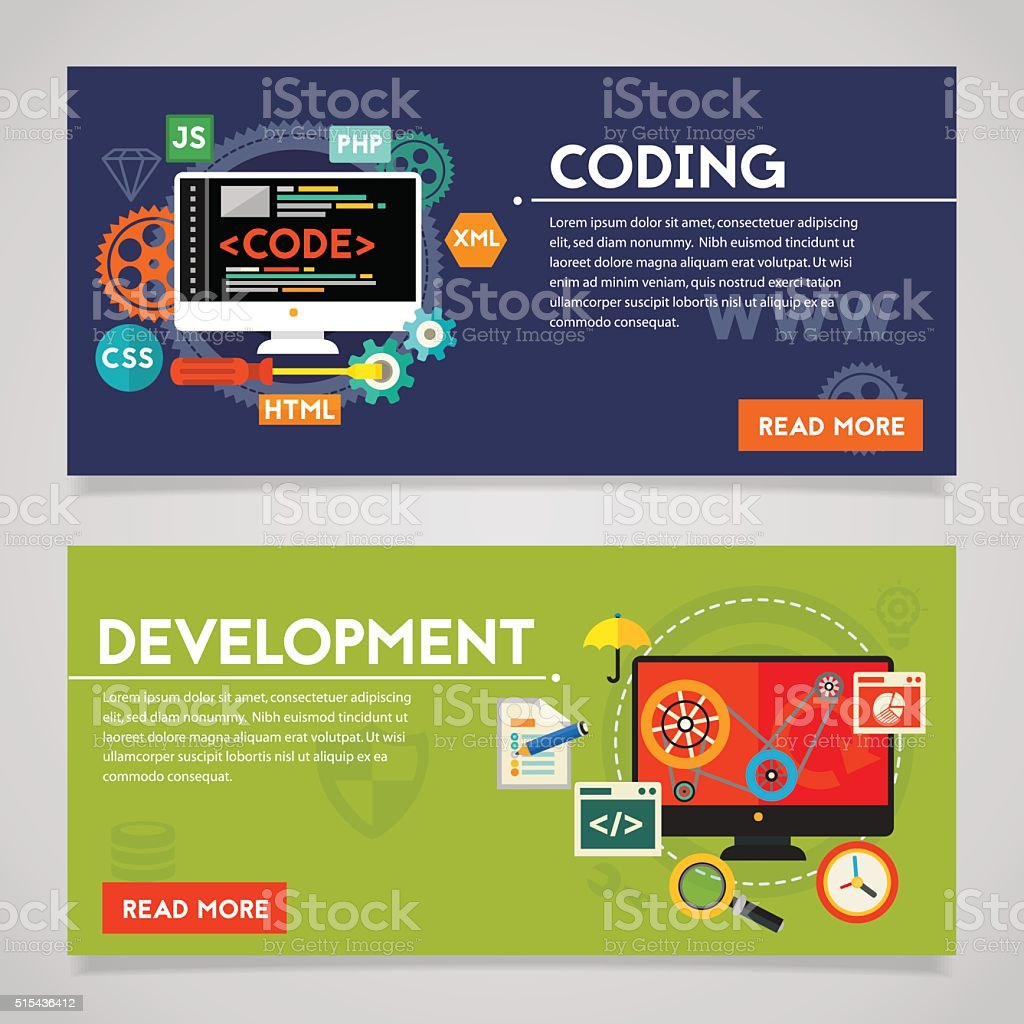 Development and Coding Concept Banners vector art illustration