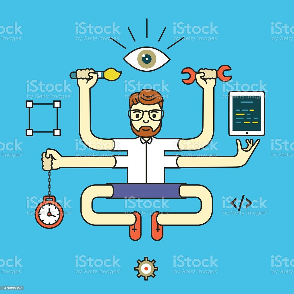 Development and internet service. Human resources and self-development. Design and programming vector art illustration