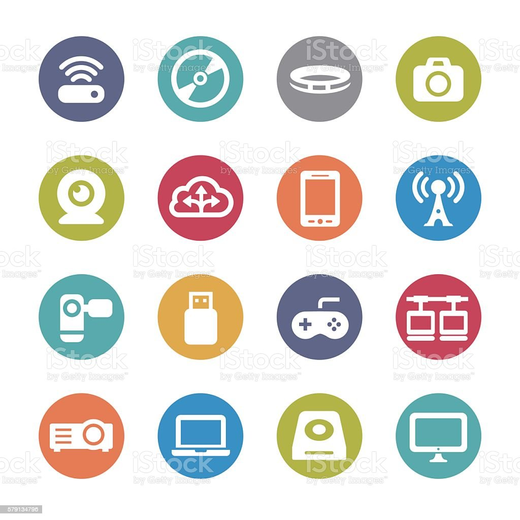 Device Icons - Circle Series vector art illustration