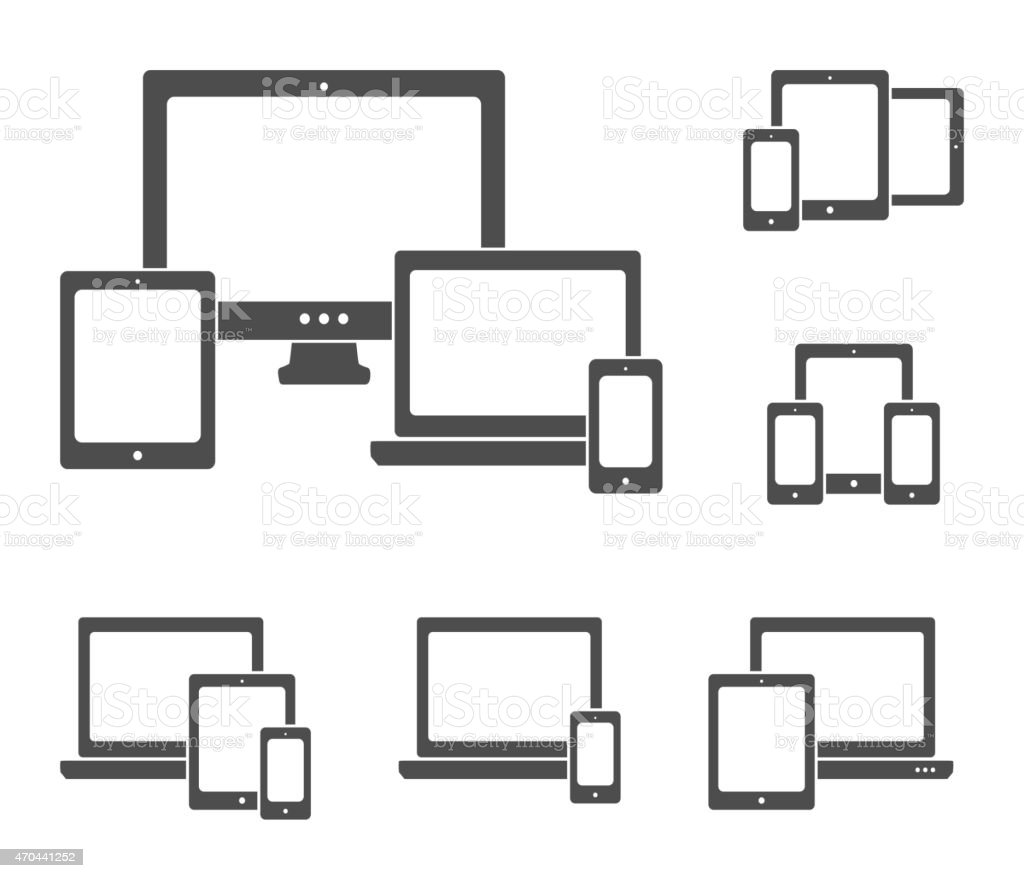 Device icons set vector art illustration