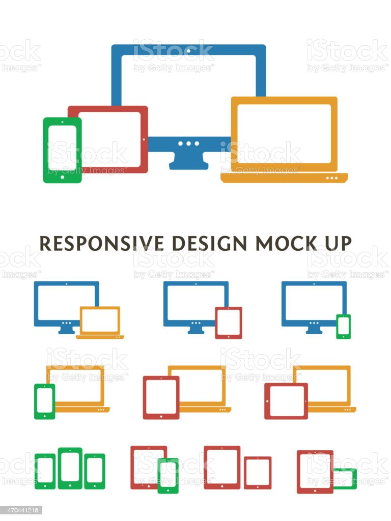 Device mock up device icon selection  vector art illustration