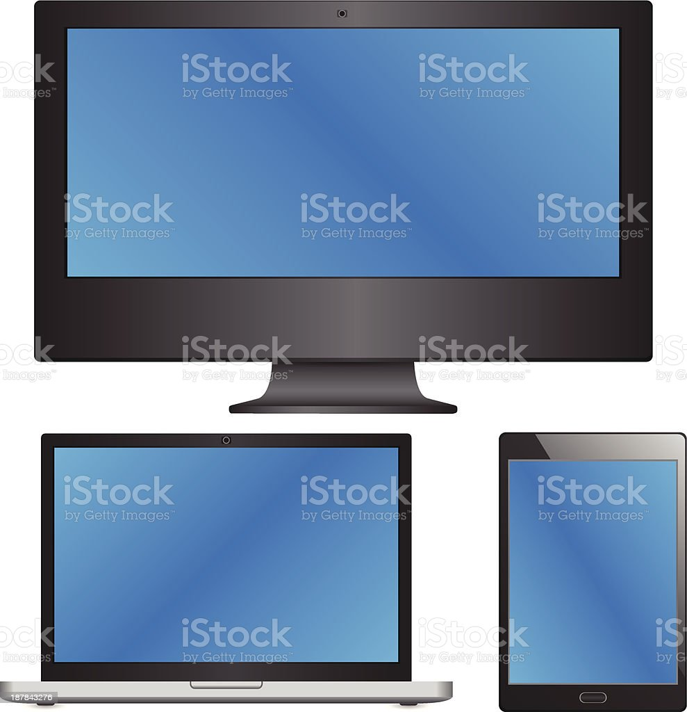 Device Sets of Laptop, Computer and Tablet Vector Illustration. vector art illustration