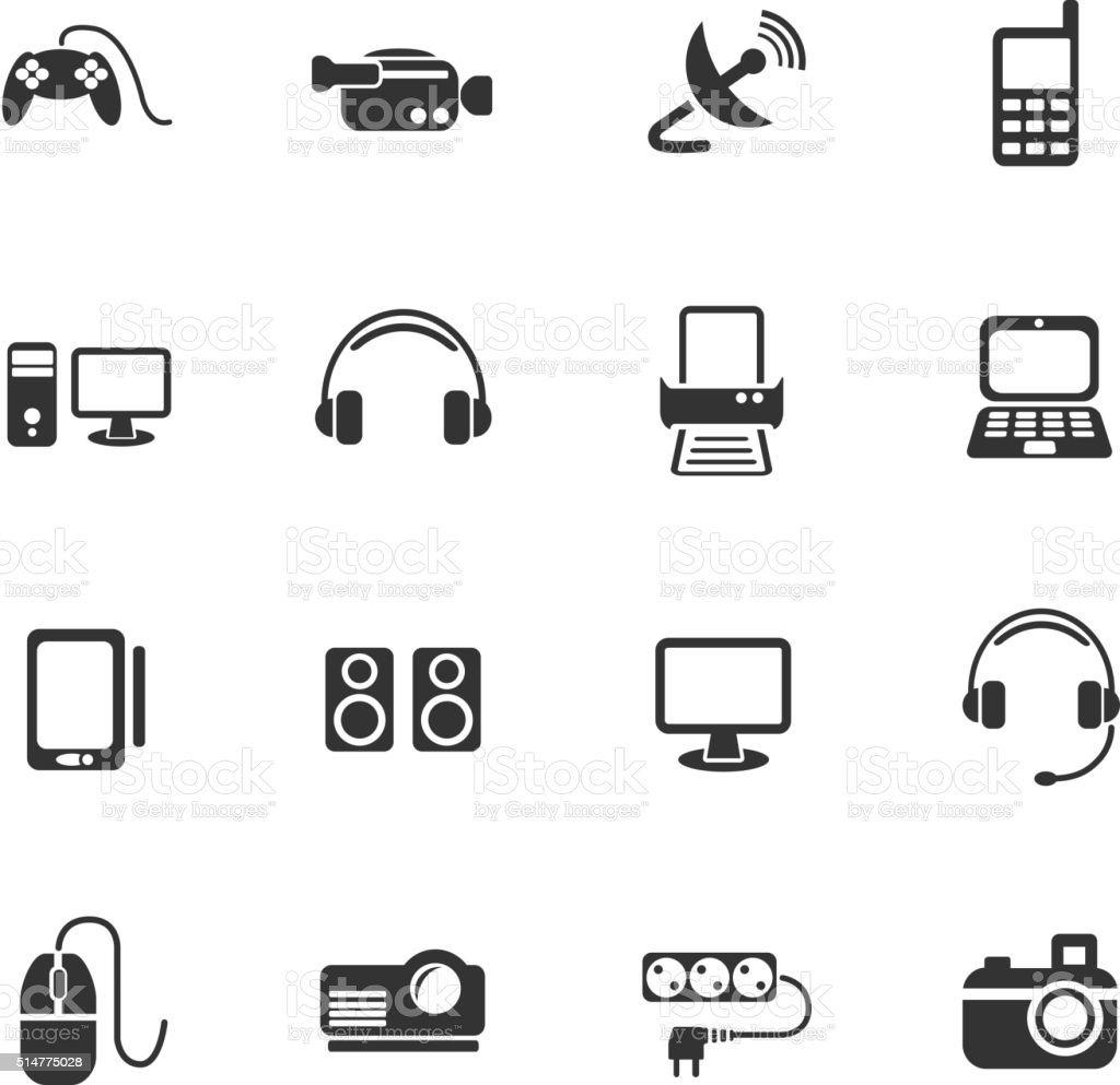 devices icon set vector art illustration