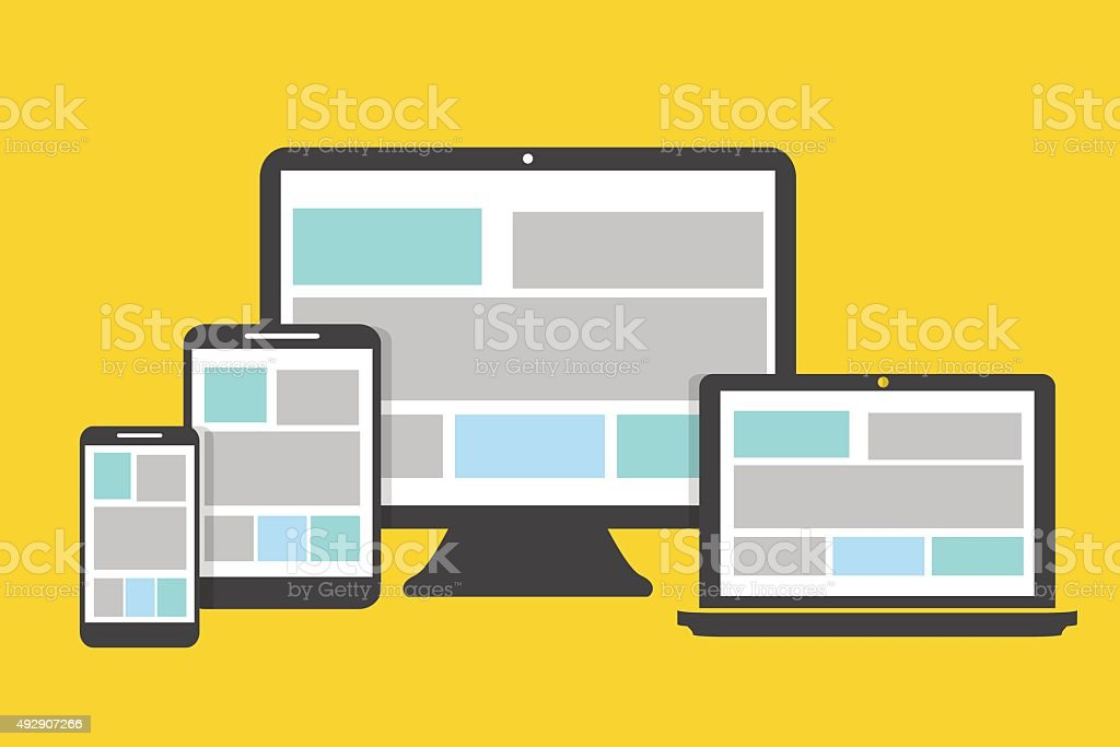 Devices icons flat design on a yellow background vector art illustration