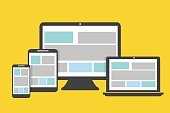 Devices icons flat design on a yellow background