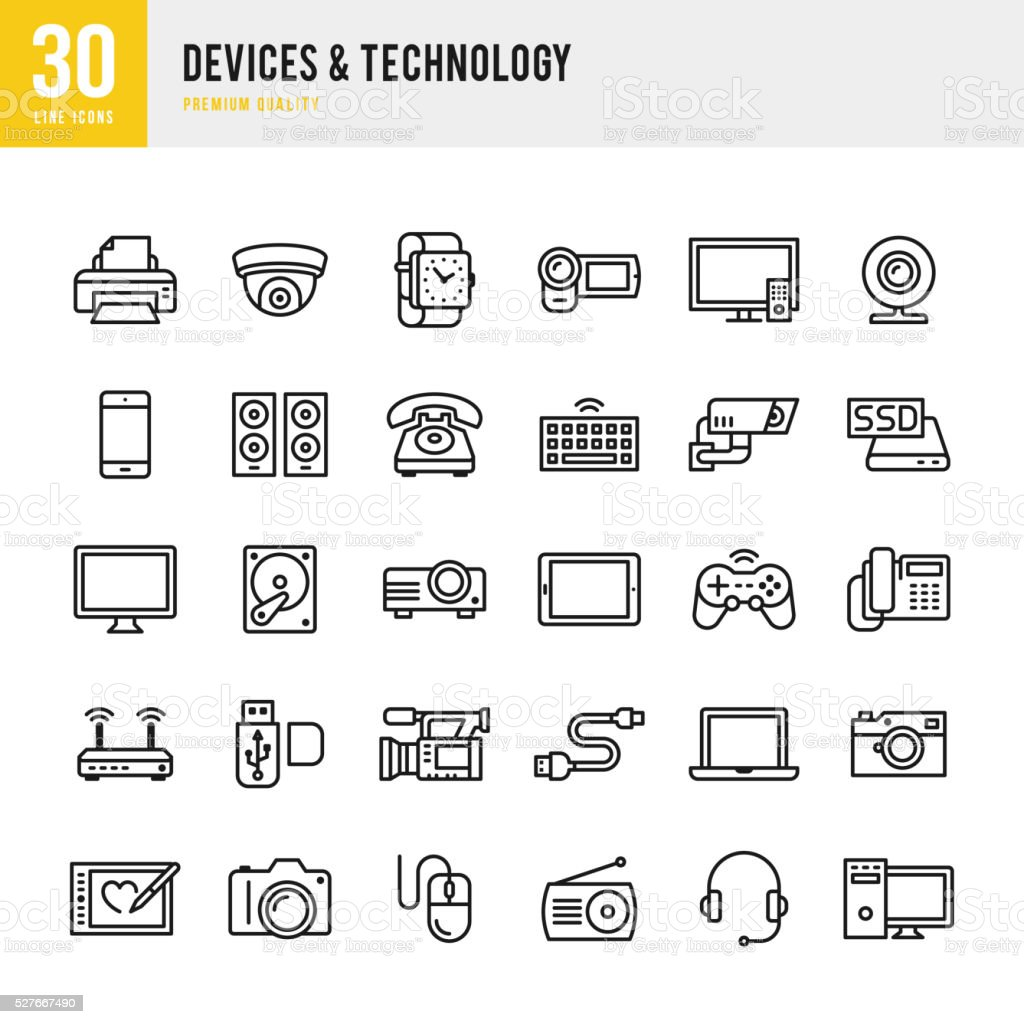 Devices & Technology - Thin Line Icon Set vector art illustration