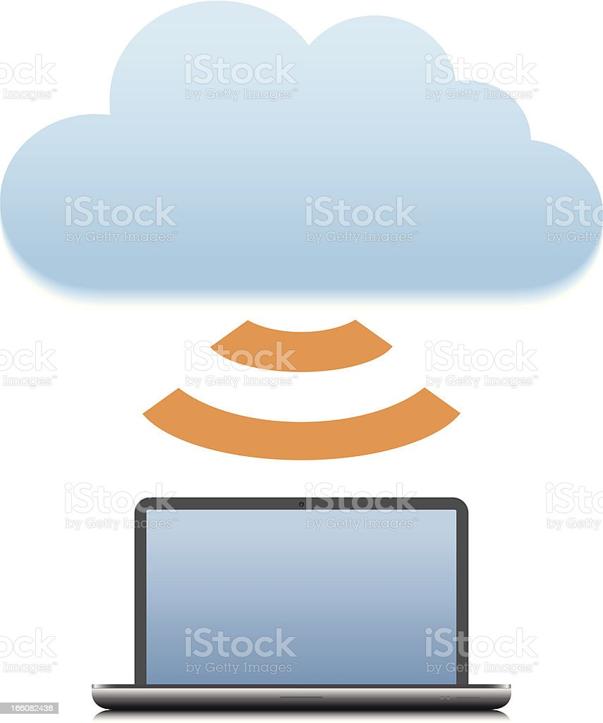 Devices using the Cloud vector art illustration